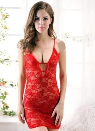 Эротичный ярко-красный насыщенный кружевной пеньюар-платье для интимного вечера с любимым 3041