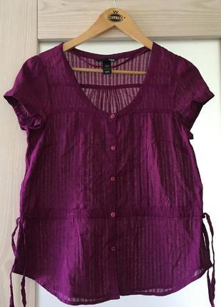 Стильная легкая натуральная блуза футболка из прошвы h&m