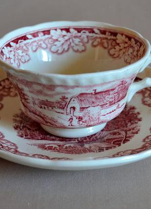 Чайная пара (чашка и блюдце) societe ceramique maestricht holland, голландия.