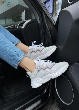Adidas ozweego white ew  🍏 стильные женские кроссовки адидас
