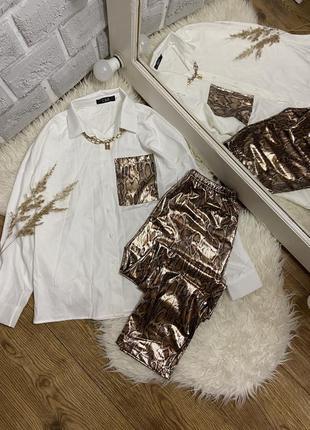 Шикарний костюм штанці+біла рубашка