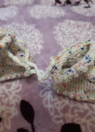 Вязаные ботиночки для новорожденного