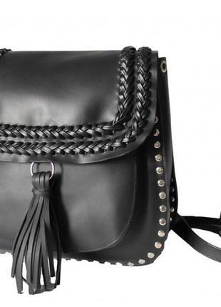 """Женский кожаный рюкзак """"attesa"""" черный"""