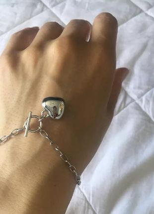 Браслет цепь с сердечком покрытие серебро 925