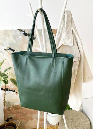 Женская сумка шоппер на молнии кожаная большая темно-зеленая, италия
