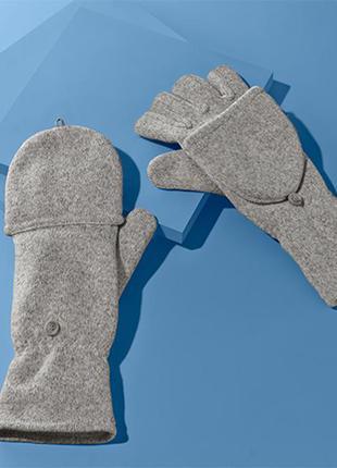 Женские варежки перчатки вязаные на флисе tchibo.