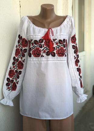 Вышиванка блуза с рукавами воланами фонариками блузка белая с вышивкой, рубаха с драпировкой