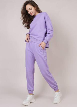 Женский костюм спортивный костюм сиреневый костюм фиолетовый костюм свитшот и джогеры