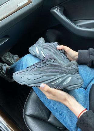 Adidas yeezy 700 black all reflective 🍏 стильные женские кроссовки адидас