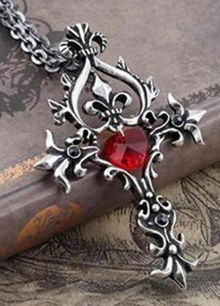 Кулон крест с красным камнем