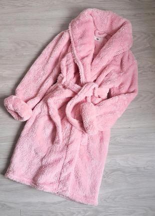 Тёплый толстый розовый халат