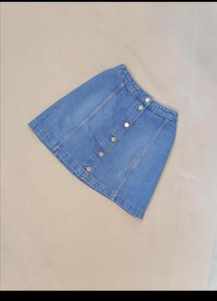 🟥 джинсовая юбка трапеция ярко голубая