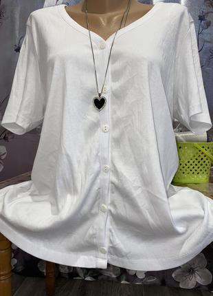 Белоснежный женский кардиган,блуза, футболка в мелкий рубчик