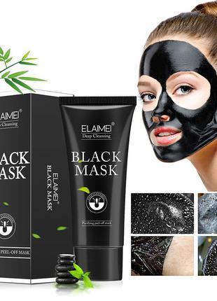 Маска-пленка от черных точек с пантенолом, грейпфрутом, розмарином elamei black mask