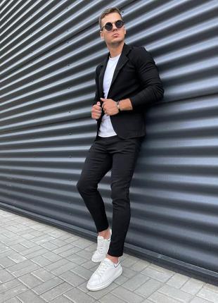 Костюм мужской пиджак брюки чёрный стильный под кеды