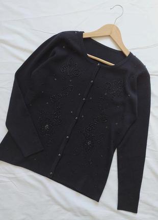 Кардиган с вышивкой из черного бисера 🖤