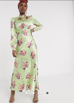 Атласное чайное платье макси с цветочным принтом asos design