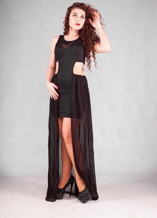 Вечернее платье с шифоновой длинной юбкой