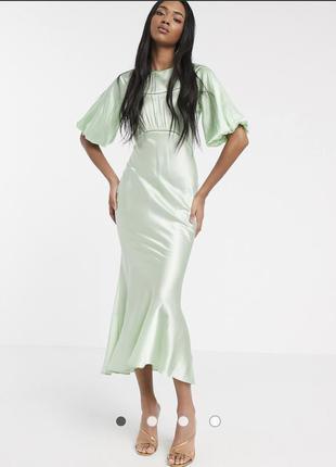 Зеленое атласное платье миди с кружевными вставками asos design