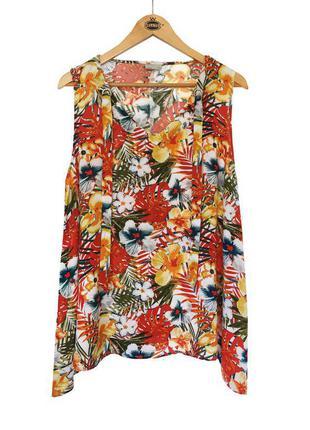 Стильная натуральная свободная блуза футболка цветочный принт laura torelli