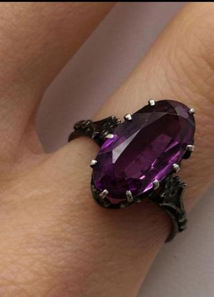 Кольцо серебро 875 винтажное аметист
