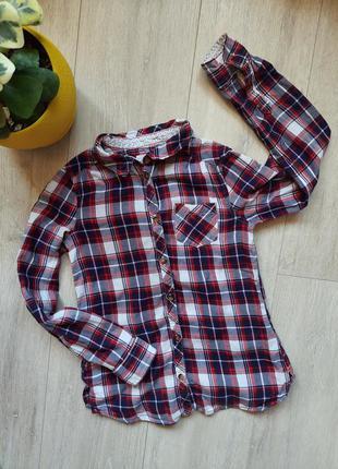 H&m рубашка клетка хлопок детская одежда