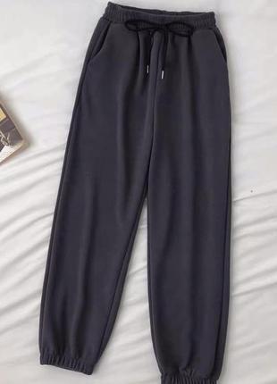 Штаны брюки вельветовые базовые спортивные с высокой посадкой на резинке со шнурком свободного кроя