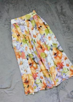 Винтажная миди юбка цветочный принт