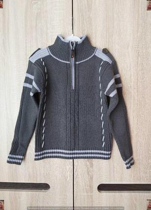Новый нарядный хлопковый свитер/кофта с высоким горлом в сером цвете на мальчика 4-5 лет