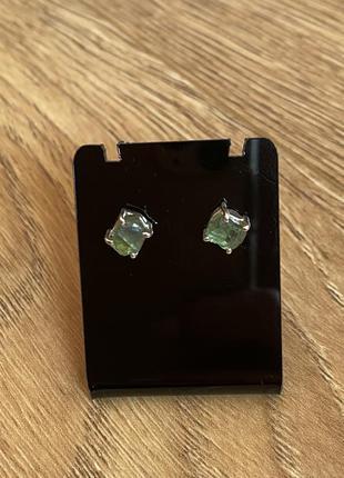 Серебряные сережки с апатитом , камень апатит