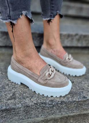 Туфли лоферы замшывые
