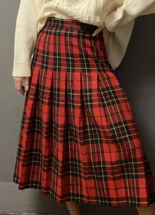 100% шерсть юбка-шотландка в складку клетка красный/черный