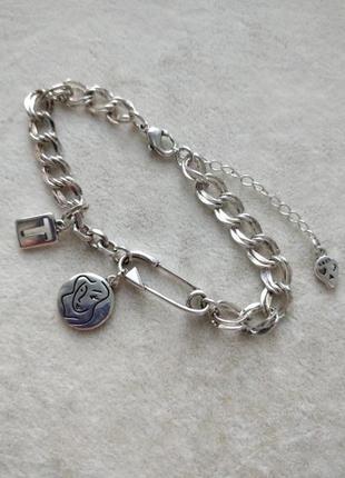 Браслет цепь с подвесками серебро 925