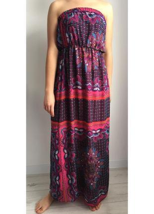 Цветочное. длинное платье сарафан, платье в пол, длинное платье без бретелек, летнее платье, рюш.
