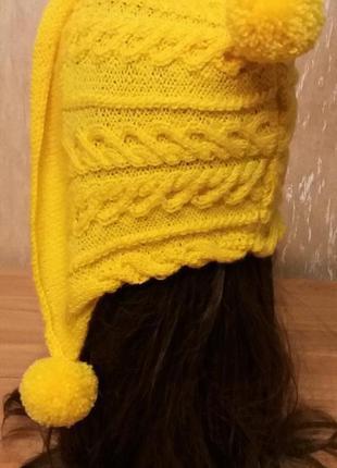 Комплект шапка-капор и варежки ручной работы. желтый. единственный экземпляр!