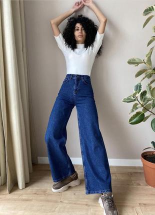 Джинсы палаццо, клёш, трубы, синие, синий denim, top shop, джинси