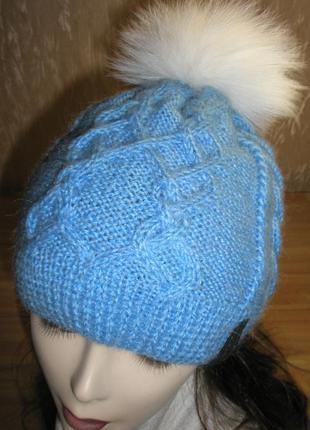 Зимняя шапка из альпаки с помпоном из меха песца. ручная работа