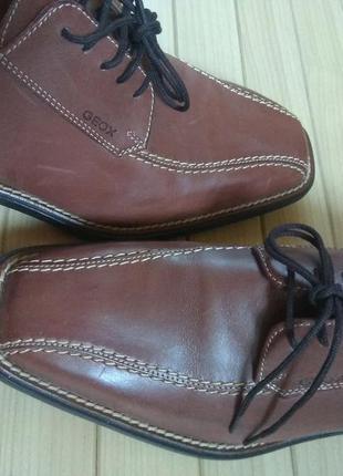 Кожаные классические туфли geox respira ☕ 41-41.5рр/стелька 27.5-28см