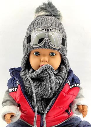 Детская вязаная польская с 50 по 54 размер шапка хомутом детские шапки зимняя теплая