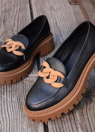 Лоферы с цепью броги туфли лофери туфлі з цепочкою  кожаные