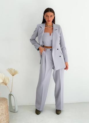 Костюм брючный, брюки-палаццо и пиджак двубортный, костюм тройка, много расцветок