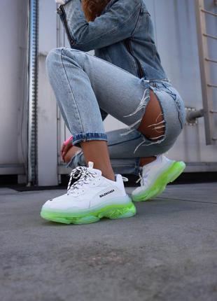Кросівки triple s clear sole neon green кроссовки