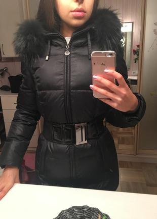 Чёрный зимний курточка, пальто пуховик savage с мехом