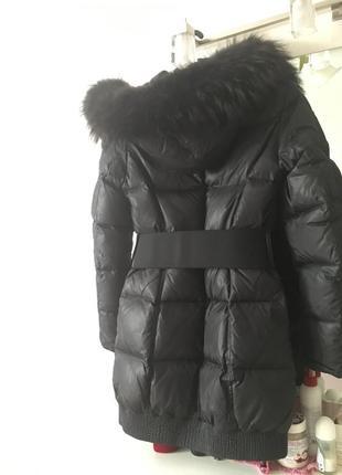 Чёрный зимний курточка, пальто пуховик savage с мехом2 фото