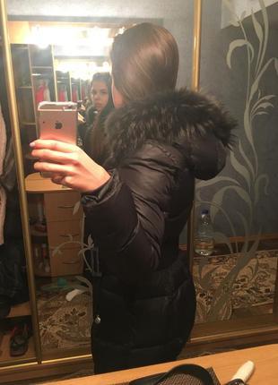 Чёрный зимний курточка, пальто пуховик savage с мехом3 фото