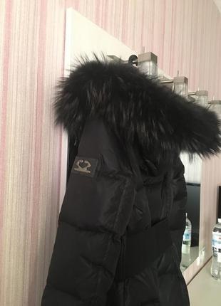 Чёрный зимний курточка, пальто пуховик savage с мехом4 фото