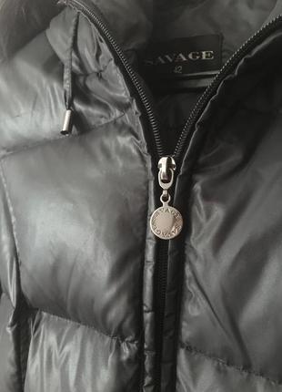Чёрный зимний курточка, пальто пуховик savage с мехом5 фото