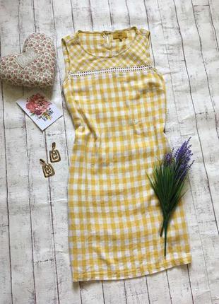Распродажа летнего товара льняное платье клетка с карманами