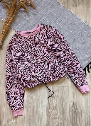 Розовый свитшот с затяжкой в принт зебра h&m