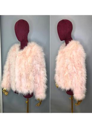 Розовая пудровая шуба накидка из страусиных перьев шубка пальто rundholz owens